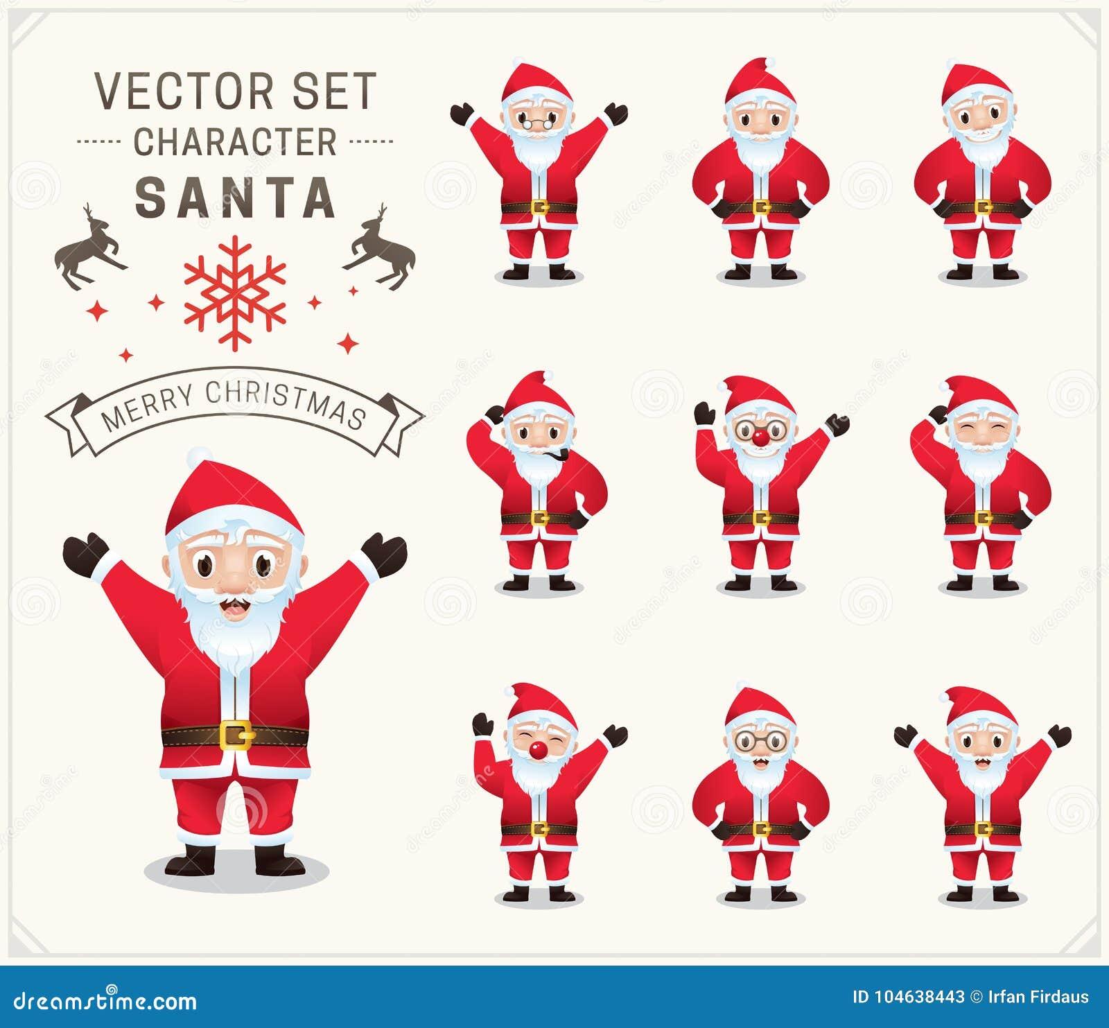 Download Inzameling Van Kerstmis Santa Claus Vector Illustratie - Illustratie bestaande uit vrolijk, nieuw: 104638443