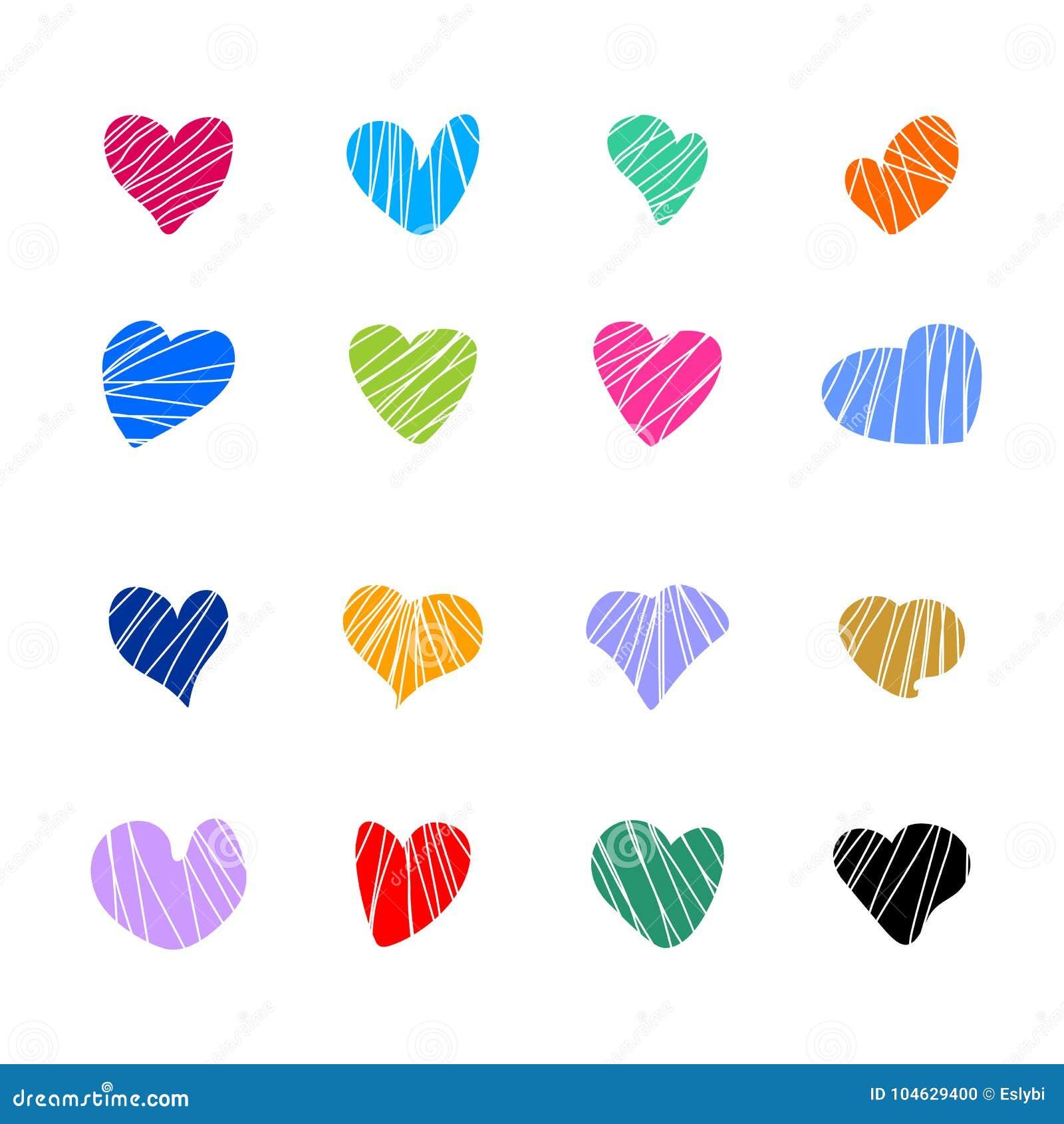 Download Inzameling Van Kleuren Vectorharten Vector Illustratie - Illustratie bestaande uit hartstocht, samenvatting: 104629400