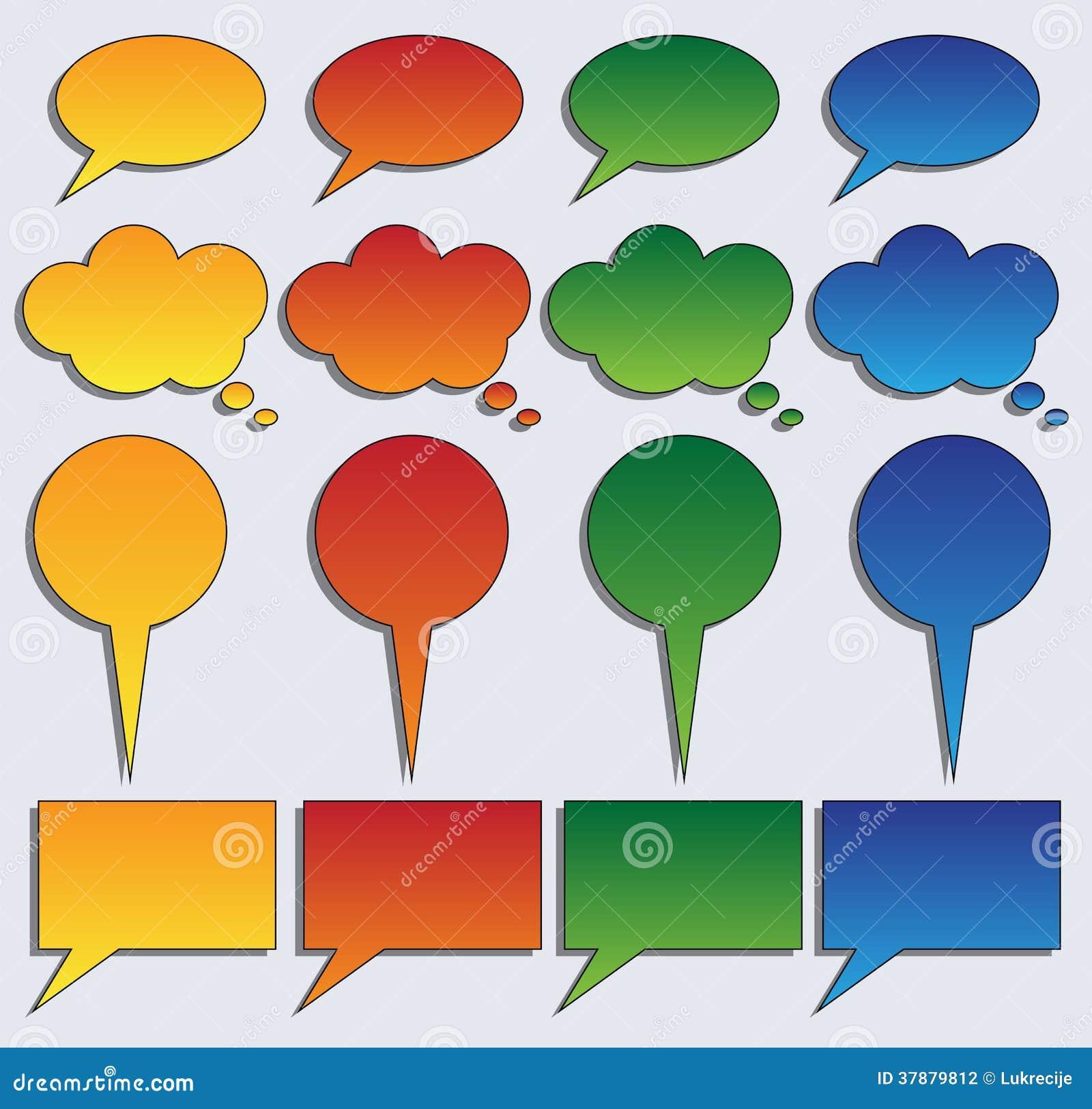 Inzameling van kleurrijke toespraakbellen