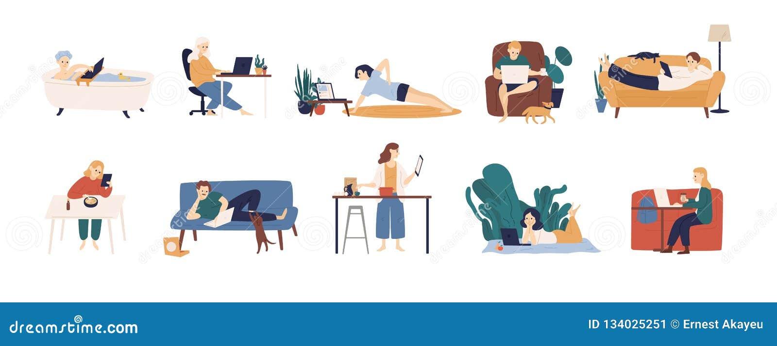 Inzameling van mensen die Internet op hun laptop en tabletcomputers surfen Reeks mannen en vrouwen die tijd online doorbrengen