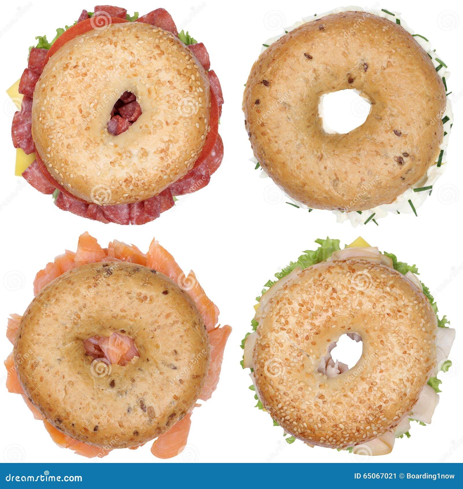 Inzameling van ongezuurde broodjes met de roomkaas van de salamiham, zalmbovenkant vi