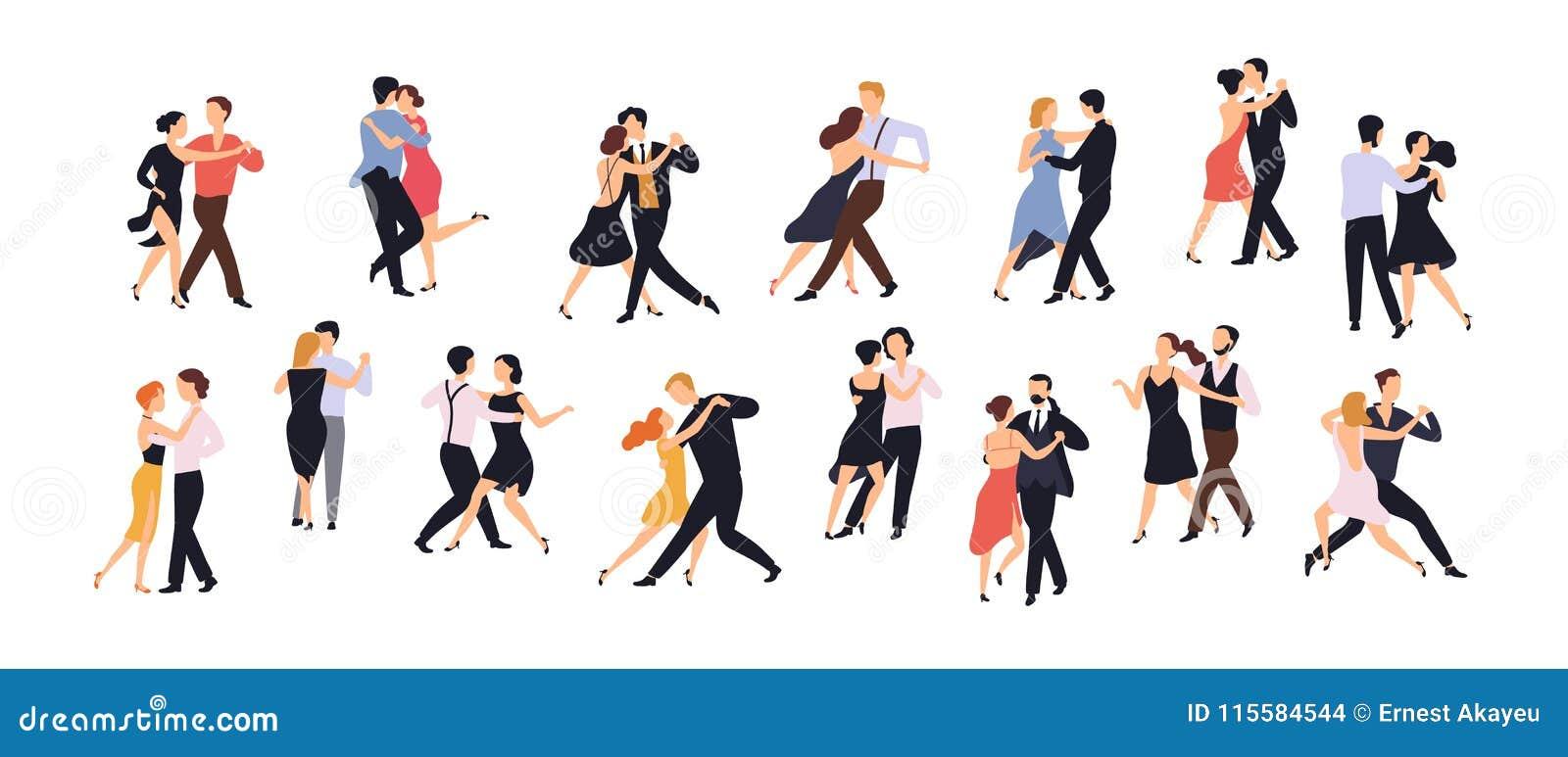 Inzameling van paren dansers op witte achtergrond worden geïsoleerd die Mannen en vrouwen die dans uitvoeren op school, studio, p
