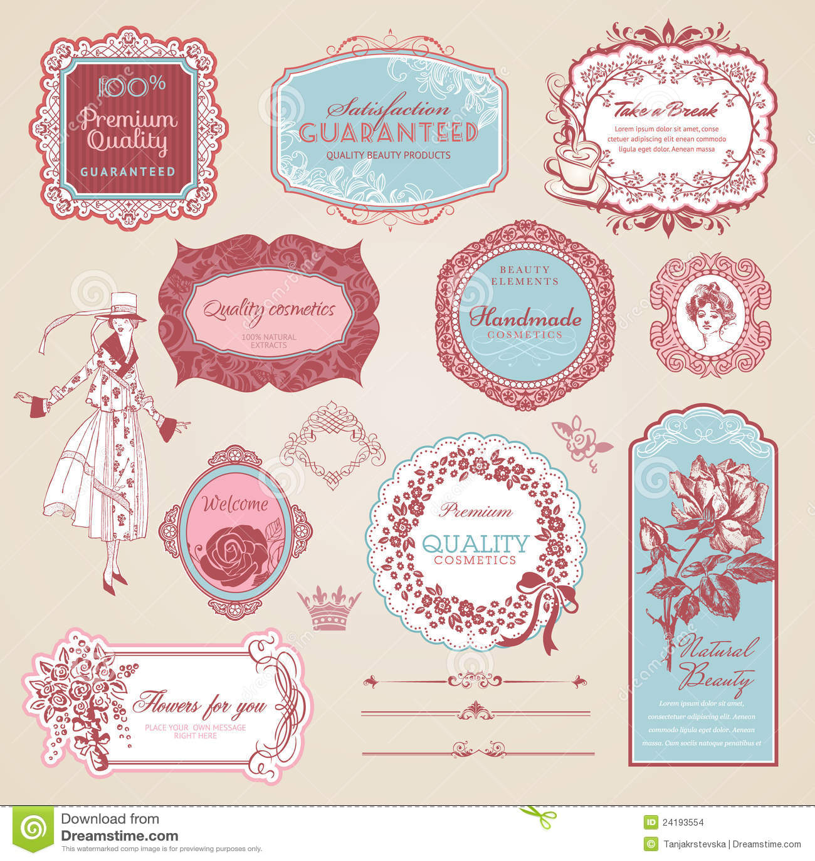 Inzameling van uitstekende etiketten en elementen