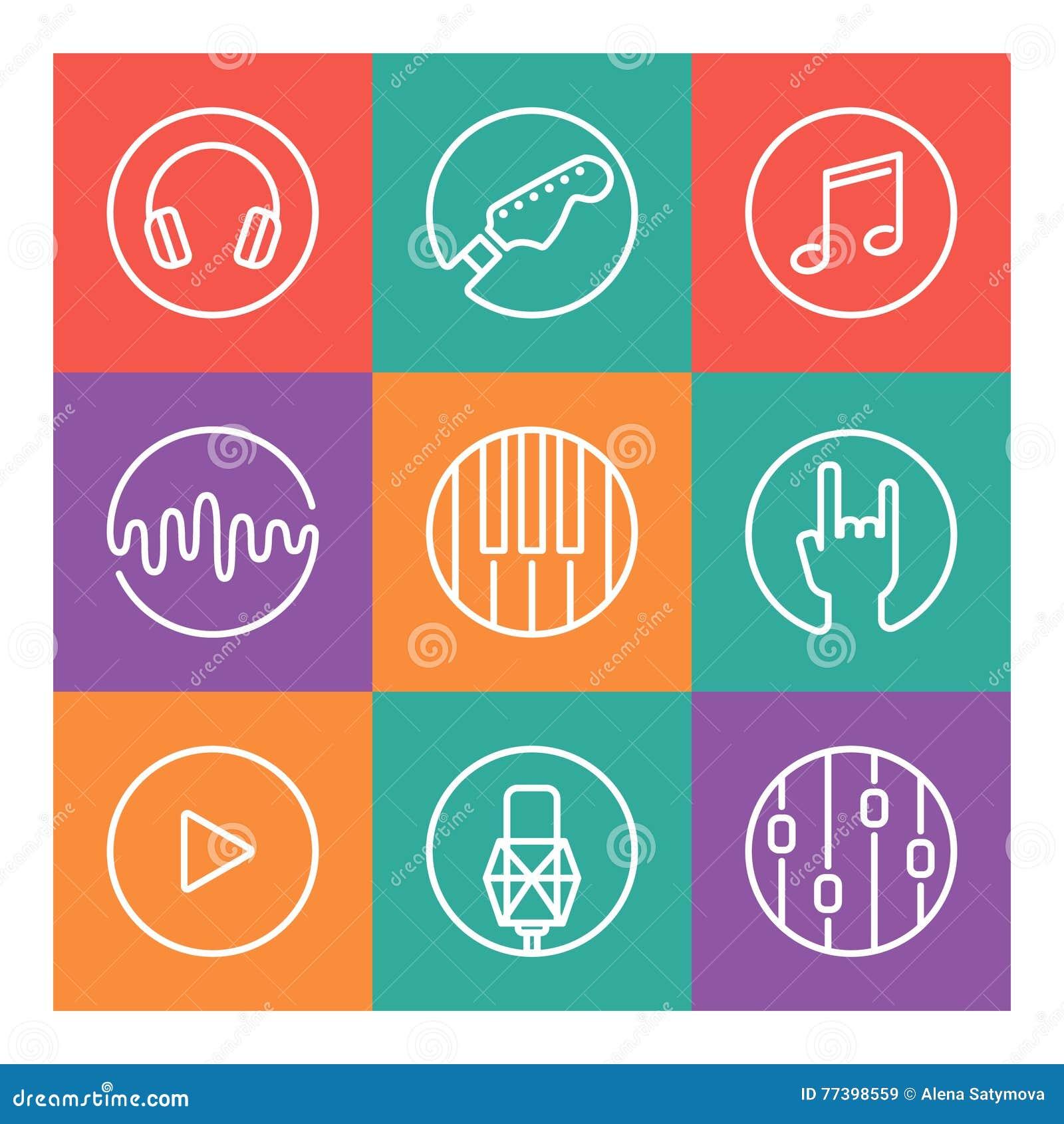 Inzameling van vectormuziek of opnamestudiopictogrammen