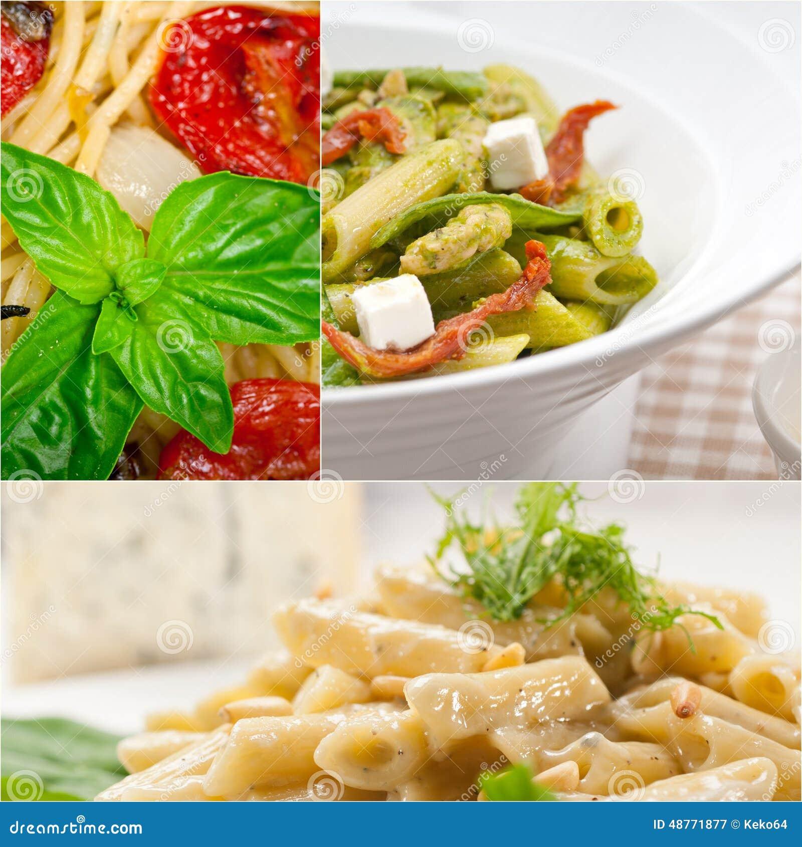 Inzameling van verschillend type van Italiaanse deegwarencollage