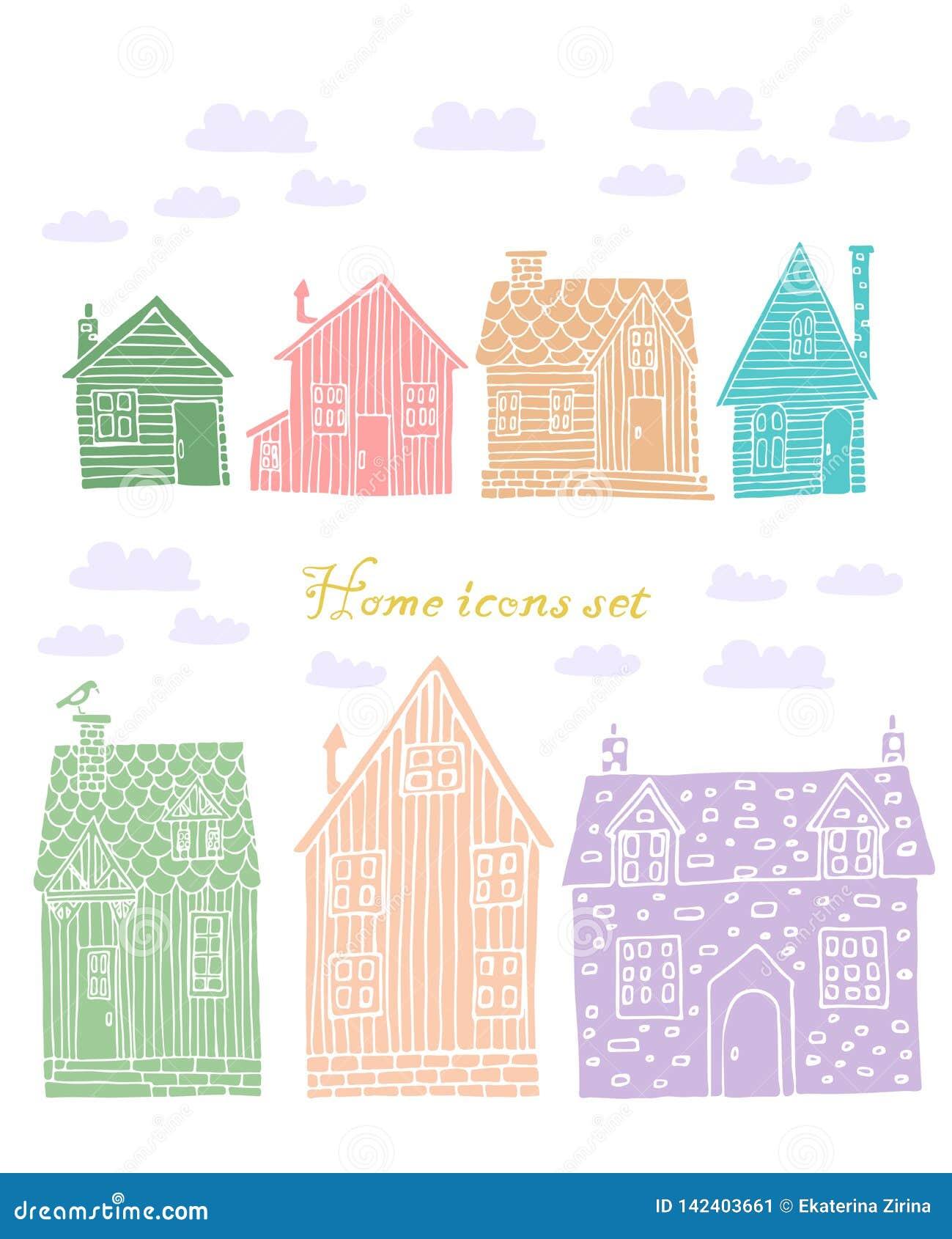 Inzameling van zeven gekleurd huizen vectorbeeld