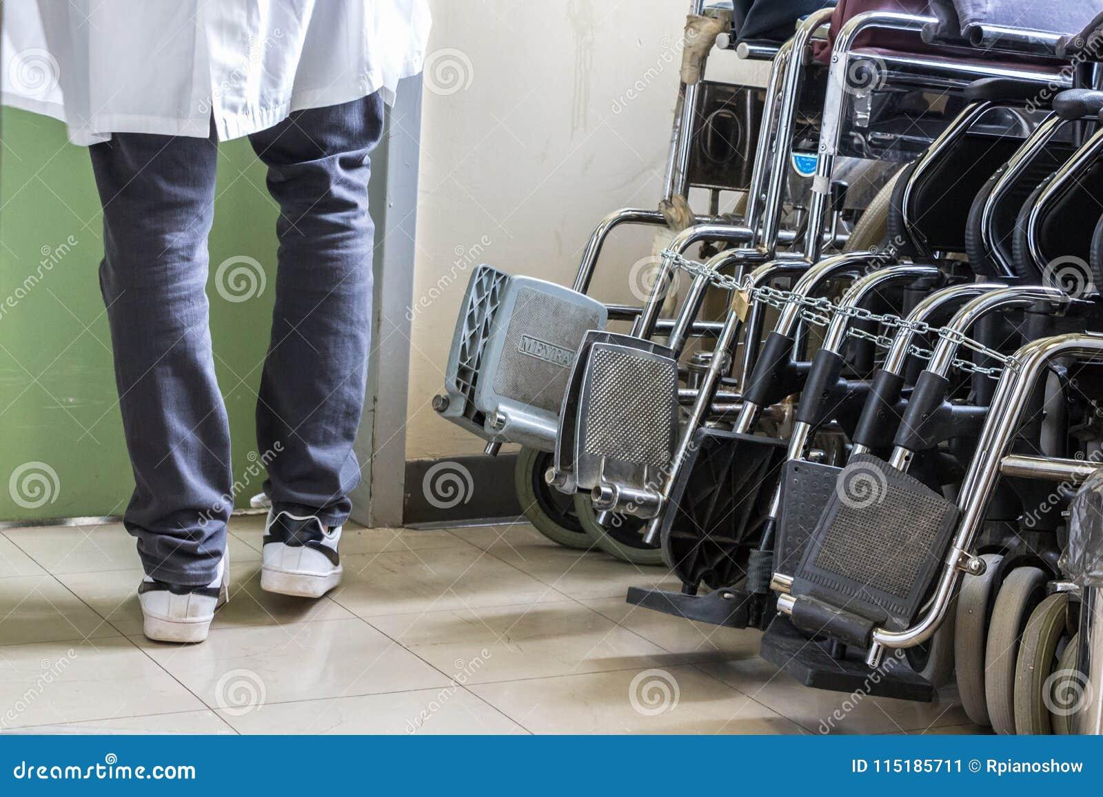Hospital wheelchairs at the University Hospital of Ioannina, Greece.