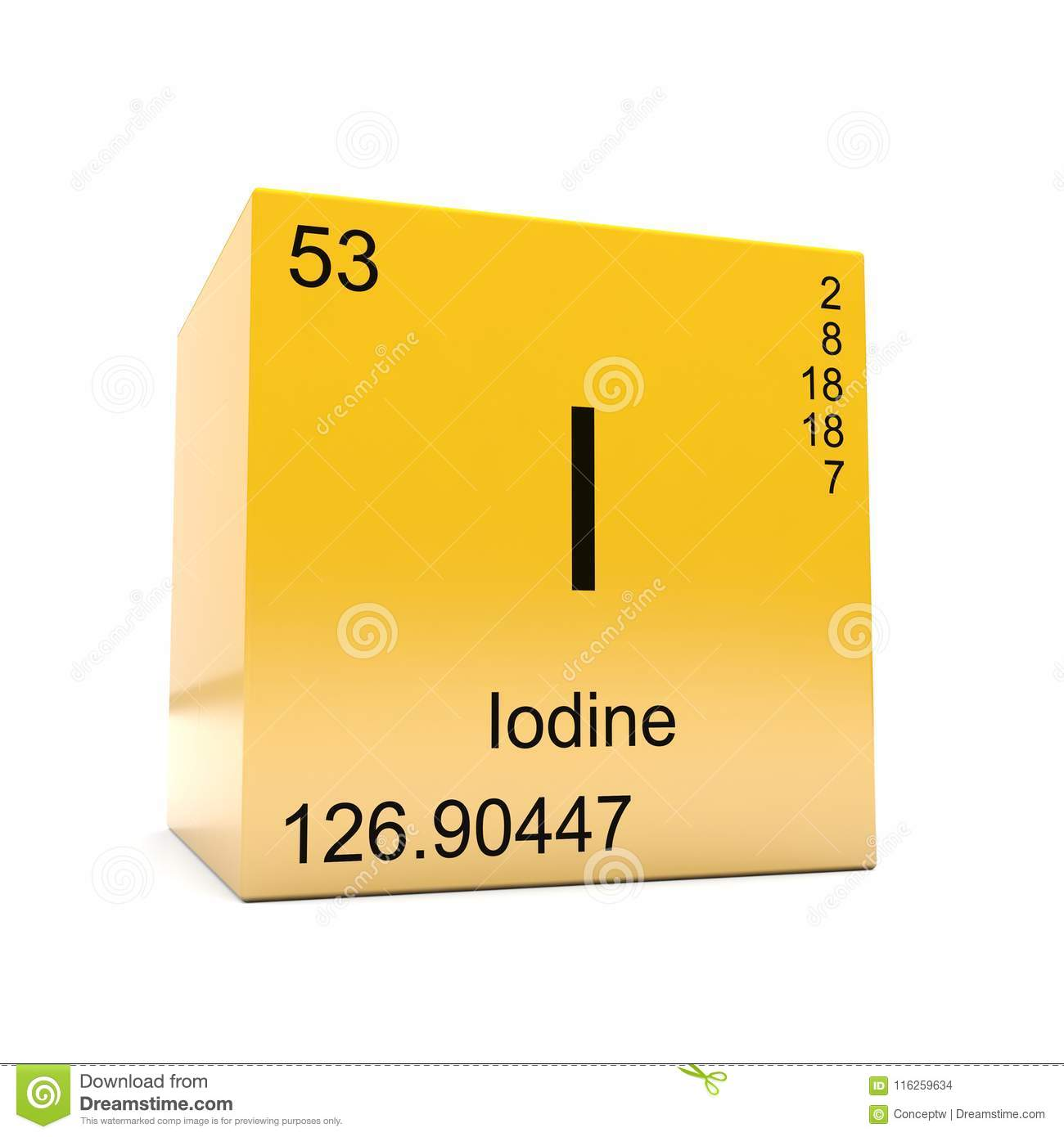 Iodine Chemical Element Symbol From Periodic Table Stock
