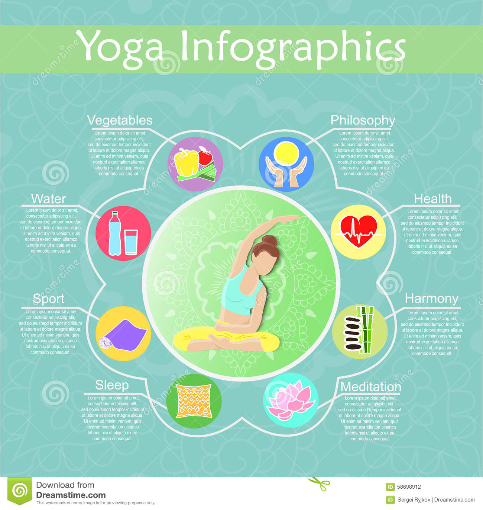 Ioga e infographics saudável do estilo de vida