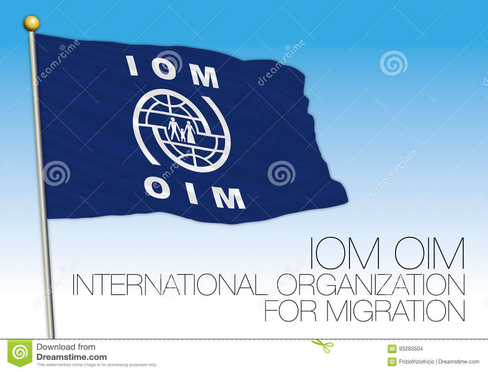 IOM, OIM, International Organization For Migration Flag Stock Vector