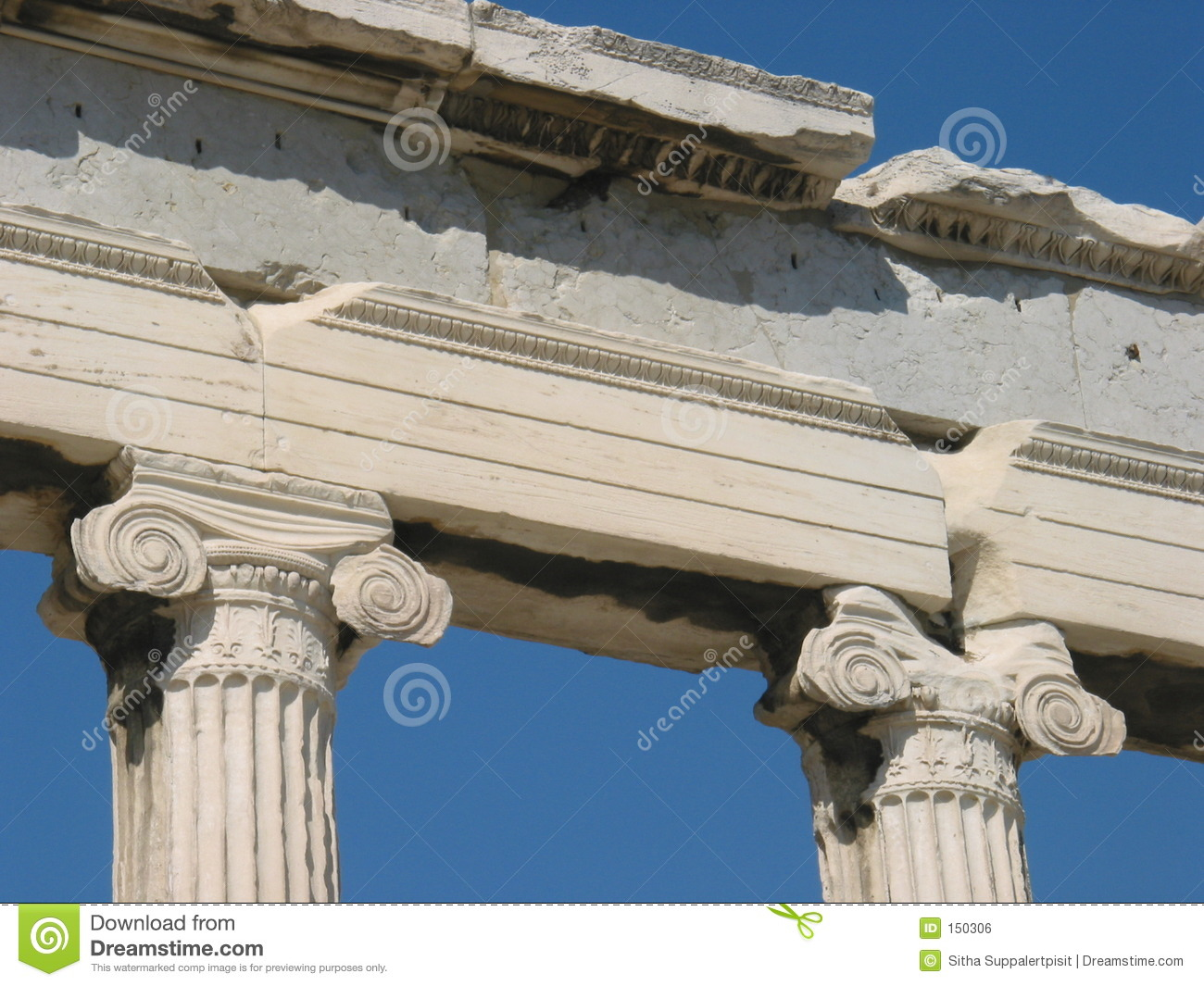 Ionic columns from Erechtheion, Athens, Greece