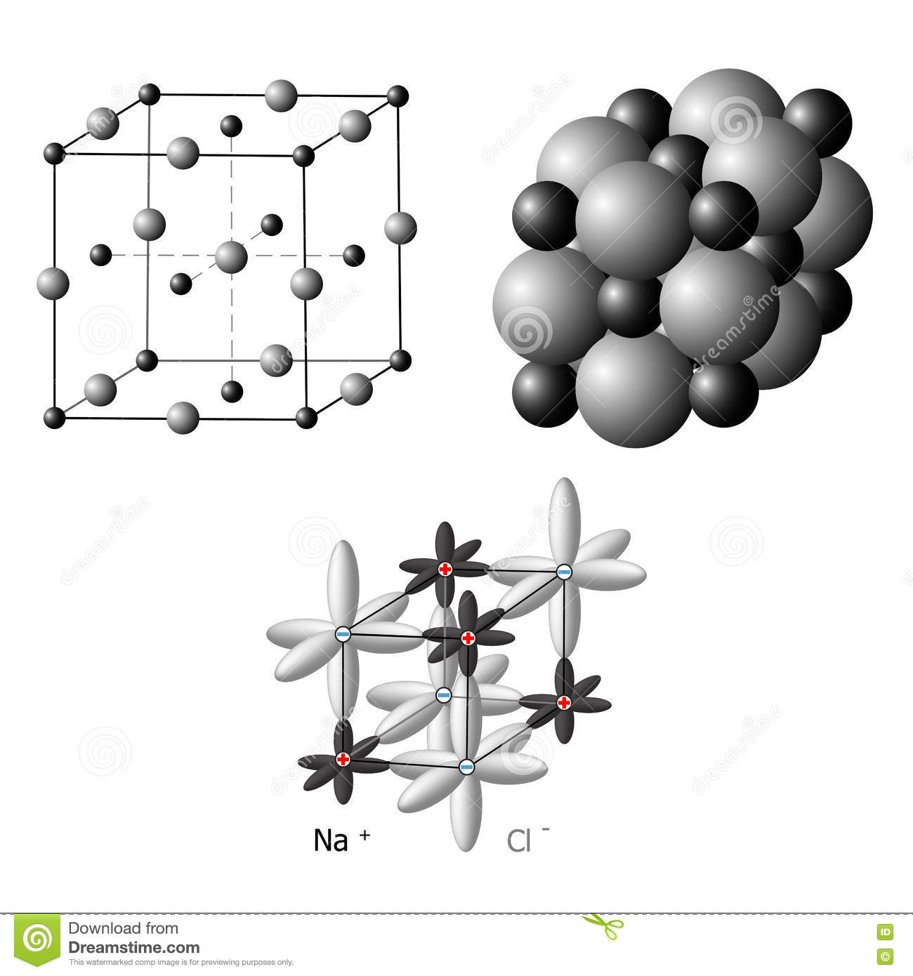 ionic crystals the structure of sodium chloride nacl stock. Black Bedroom Furniture Sets. Home Design Ideas