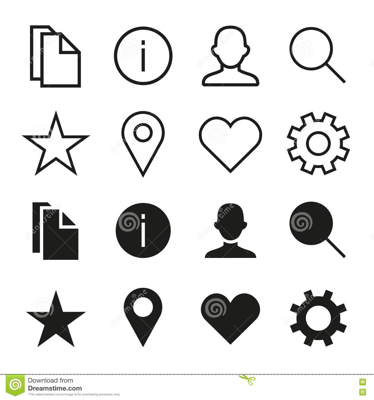 Vector icons set in ios 7 style. Select and unselect.
