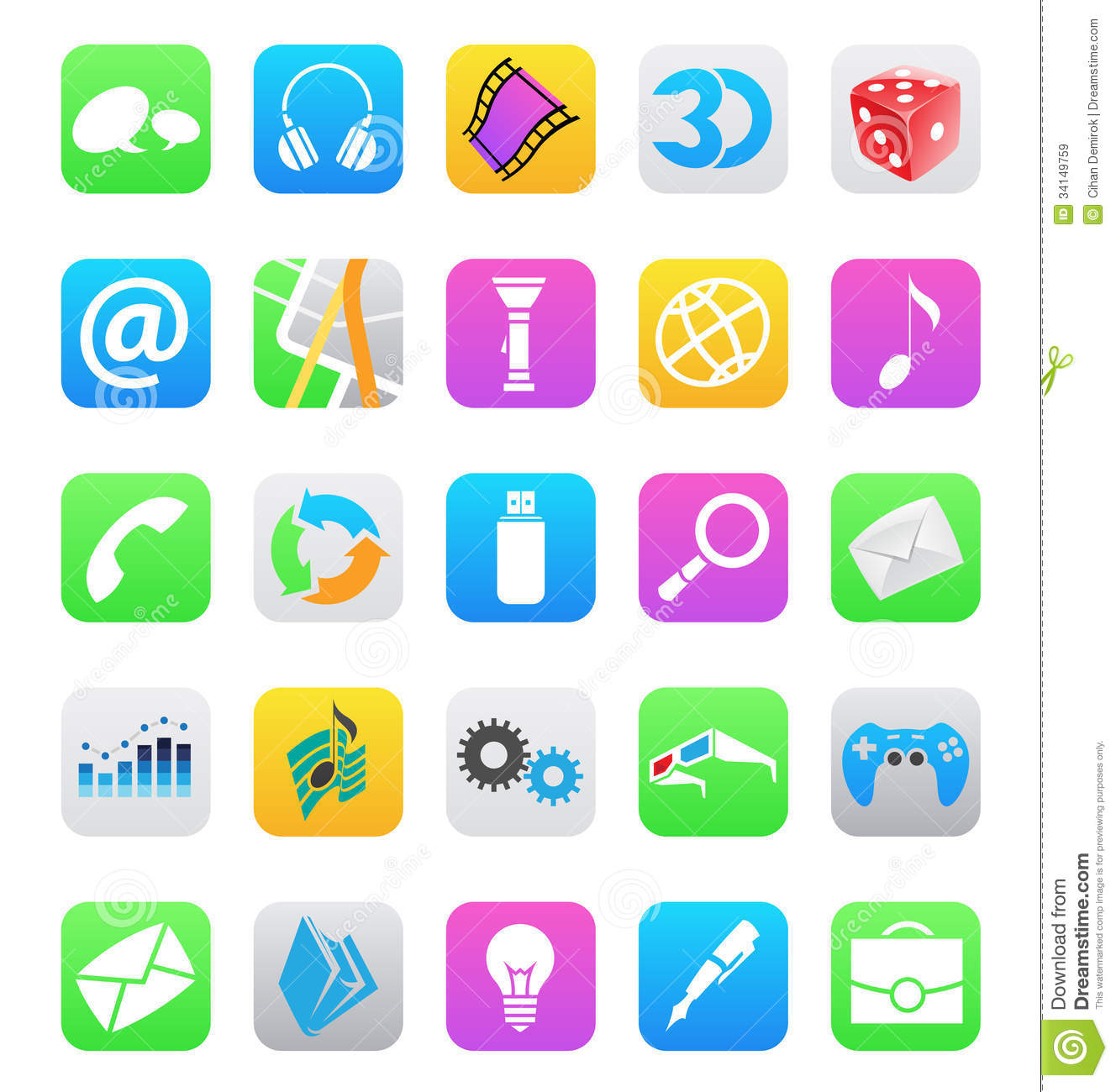 Ios 7 Style Mobile App Icons Isolated On White Bac Royalty