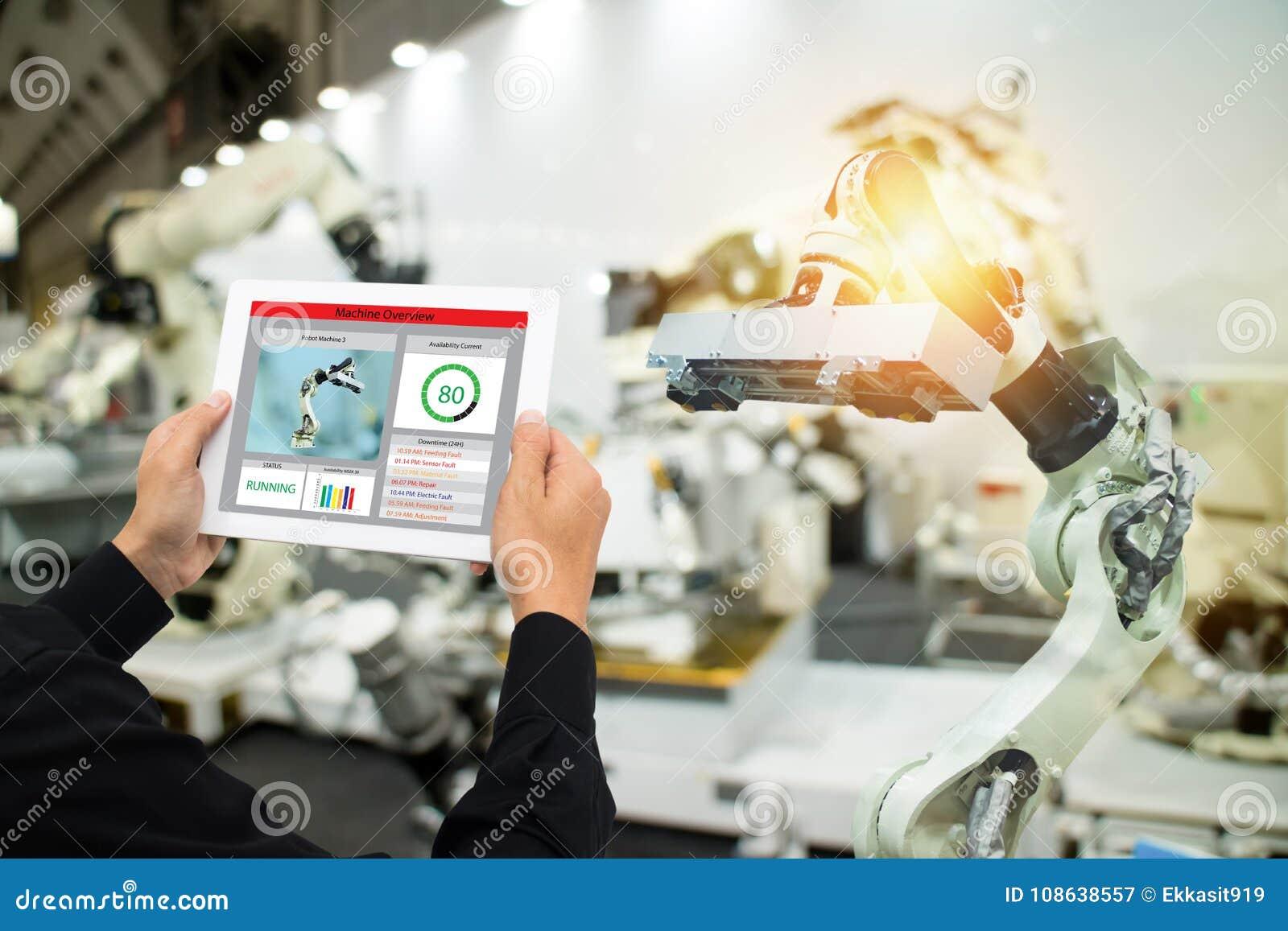 Iot产业4 0个概念,使用软件被增添,在片剂的虚拟现实的工业工程师对监测在真正的t的机器
