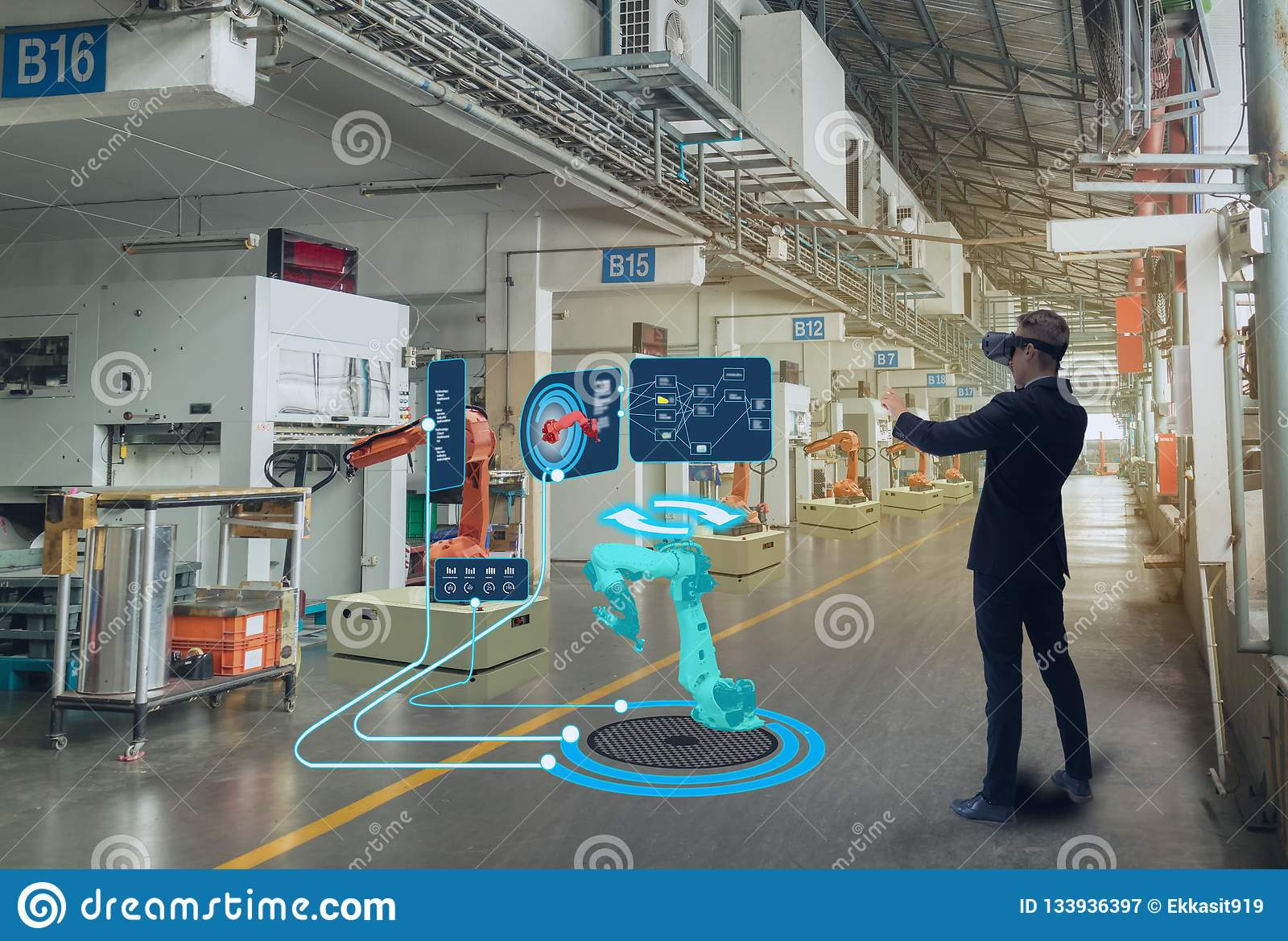 Iot聪明的技术未来派在产业4 0个概念,工程师用途增添了混杂的虚拟现实对教育和训练,r