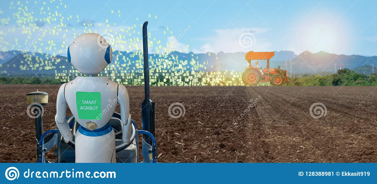 Iot de slimme landbouw, landbouw in de industrie 4 technologie 0 met kunstmatige intelligentie en machine het leren concept het h
