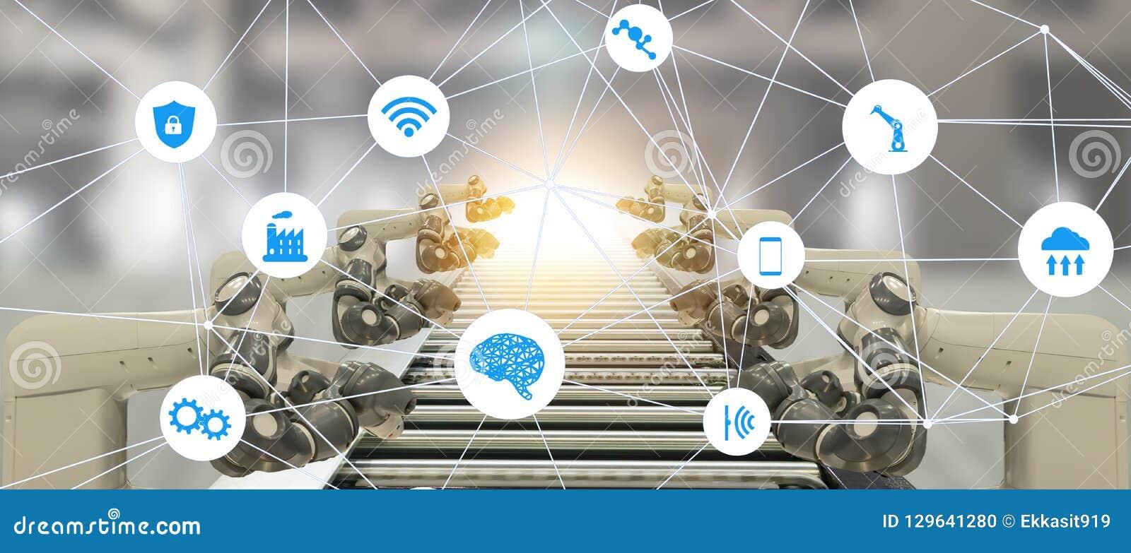 Iot-Industrie 4 0 Technologiekonzept der künstlichen Intelligenz Intelligente Fabrik unter Verwendung des Neigens Automatisierung