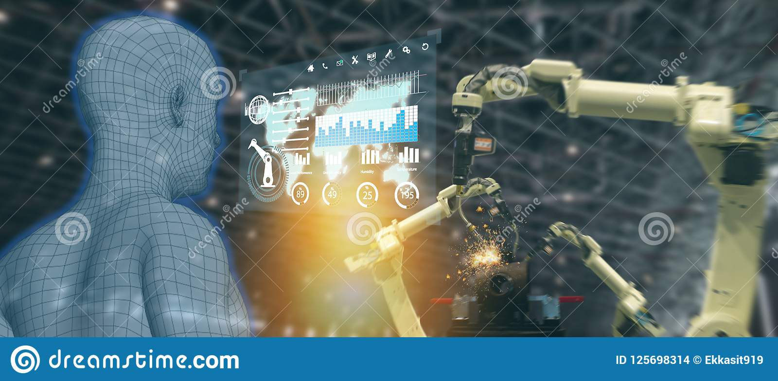 Iot industry 4.0 concept,industrial engineer using artificial intelligence ai augmented, virtual reality to monitoring machine i