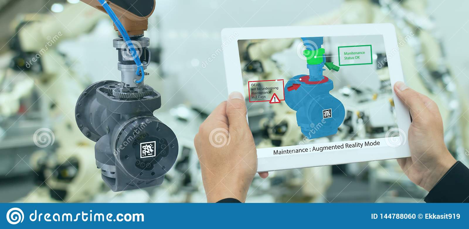Iot industry 4.0 concept,industrial engineer using smart tablet with augmented mixed with virtual reality technology to monitoring