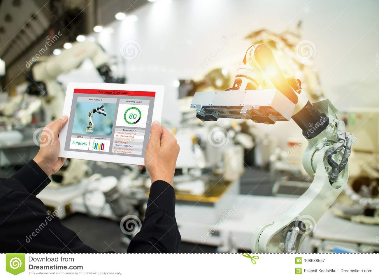 Iot industry 4.0 concept,industrial engineer using software augmented, virtual reality in tablet to monitoring machine in real t