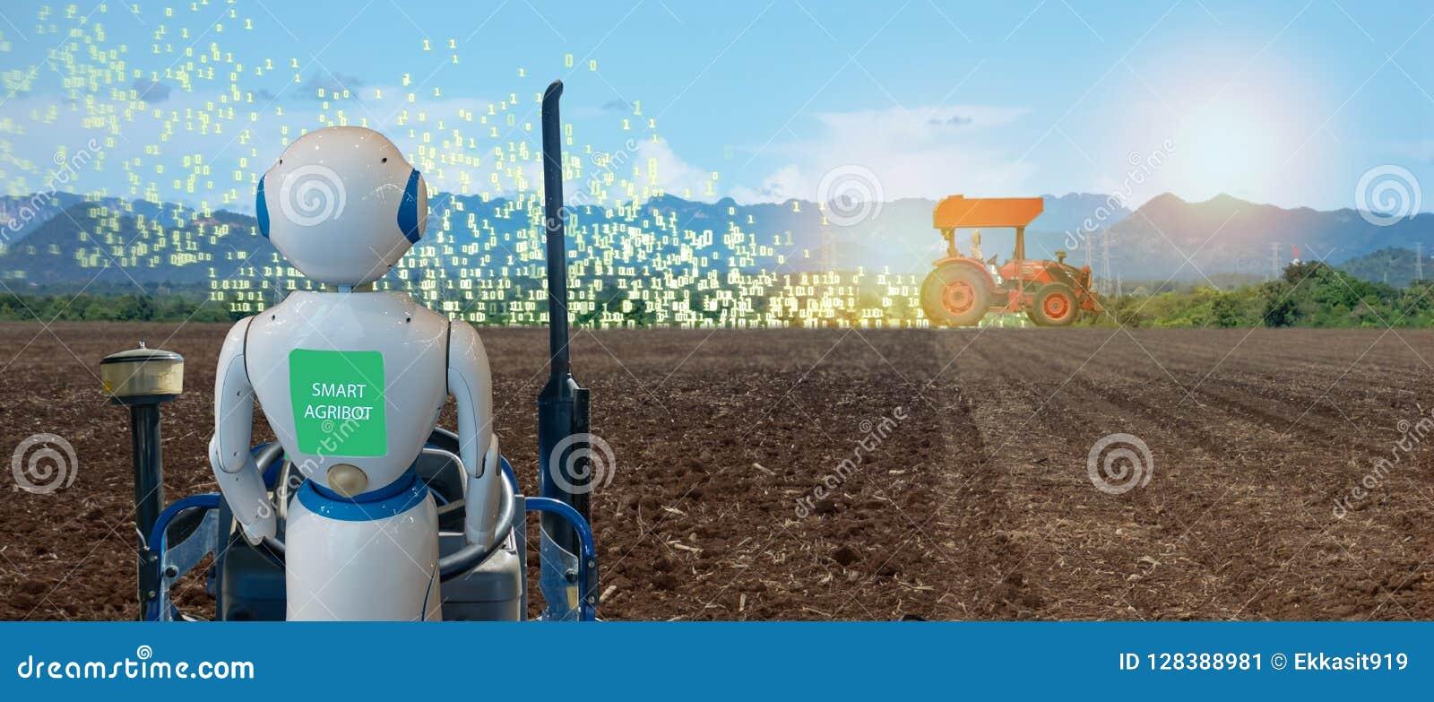 Iot intelligente Landwirtschaft, Landwirtschaft in Industrie 4 0 Technologie mit Lernkonzept der künstlichen Intelligenz und der