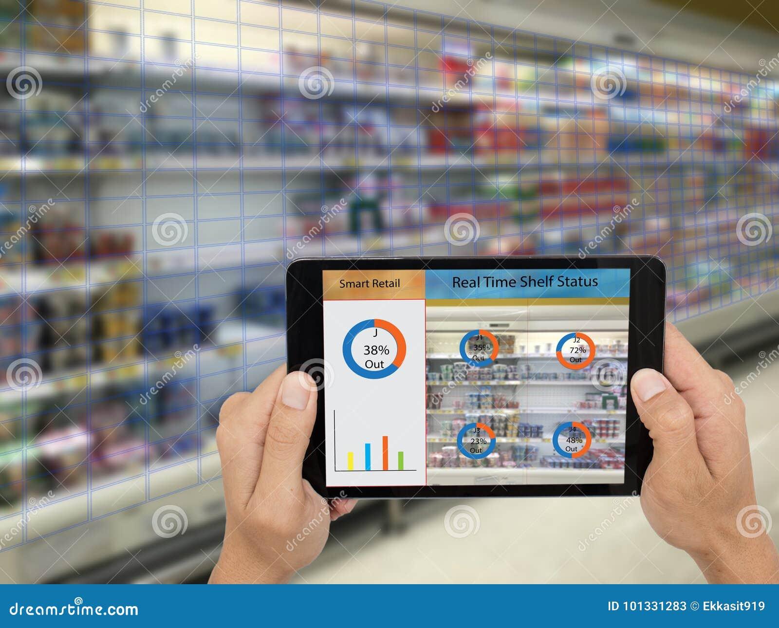 Iot internet av saker, smarta återförsäljnings- begrepp, chef för a-lager_ s kan kontrollera vilka data av realtidsinblickar in i