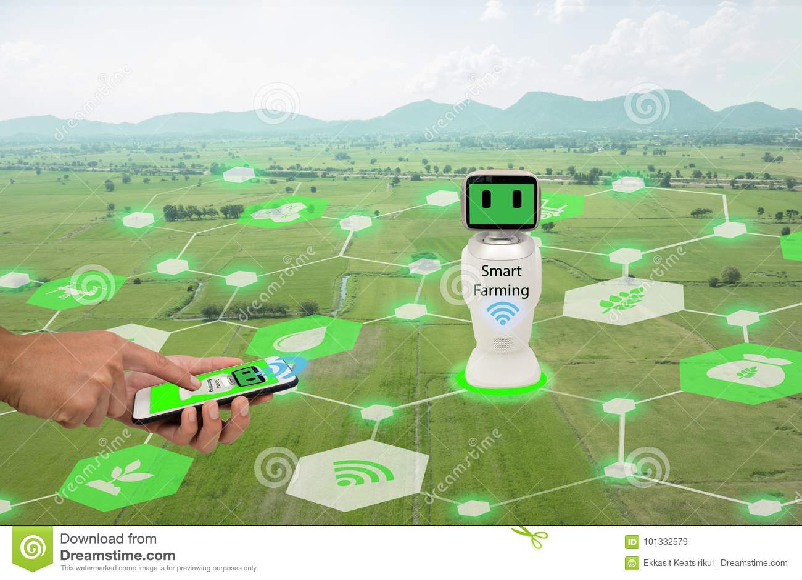 Iot, Internet des choses, concept d agriculture Le téléphone portable d utilisation d agriculteur relient l intelligence artifici