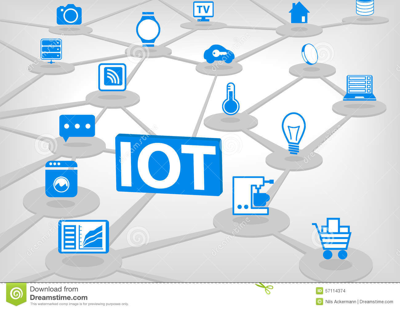 iot internet everything illustration d connection various objects devices blue icons light grey background 57114374