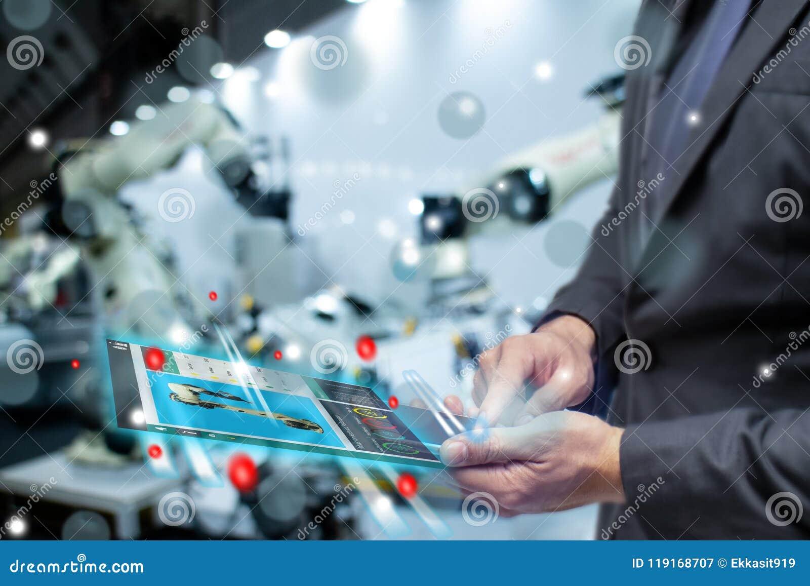 Iot internet lub inteligencja rzeczy w przemysłowym pojęcia, biznesu lub inżyniera use, zwiększaliśmy mieszaną rzeczywistość wirt