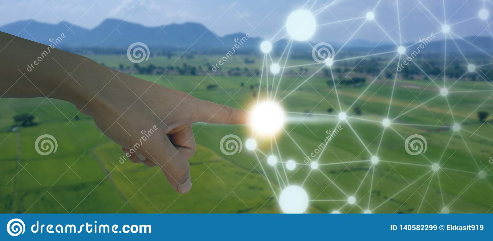 Iot, internet of things, agriculture concept, Smart Robotic artificial intelligence/ ai use for management , control , monitorin