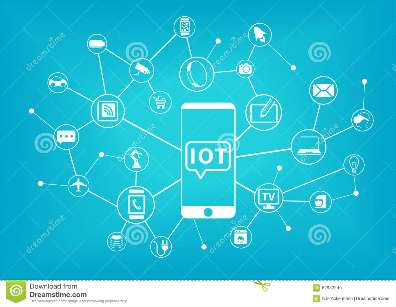 IOT (internet of things) concept. Mobile phone connected to the internet