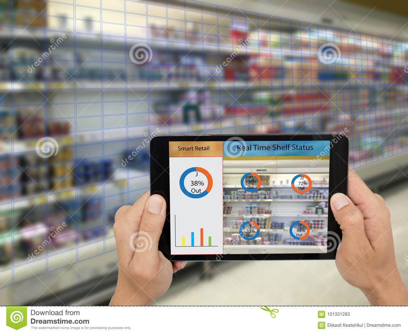 Iot, internet of things,smart retail concepts,A store s manager can check what data of real time insights into shelf status from