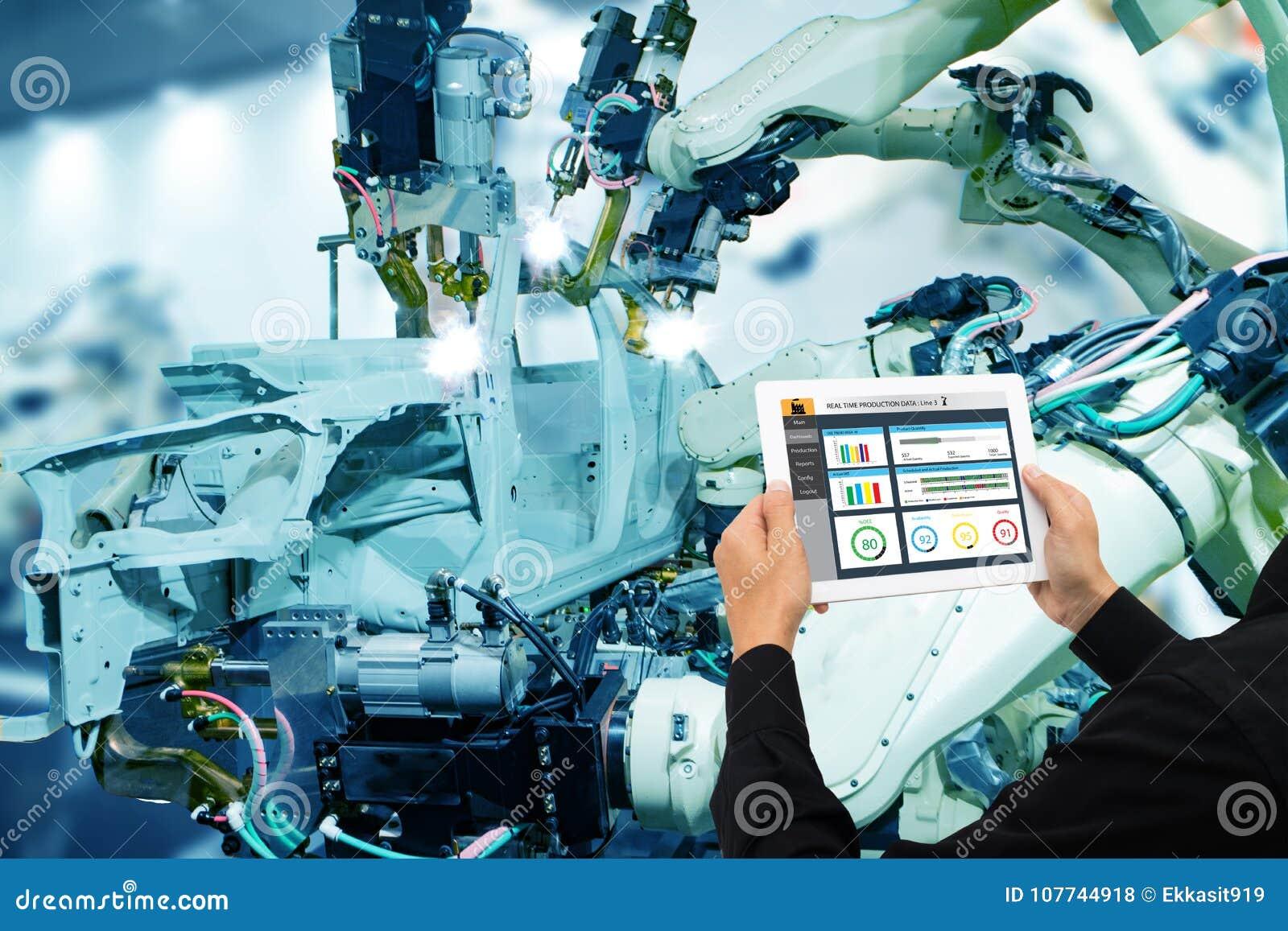 Iot przemysł 4 (0) pojęć, przemysłowy inżynier używa oprogramowanie zwiększał monitorować maszynę w realu t, rzeczywistość wirtua