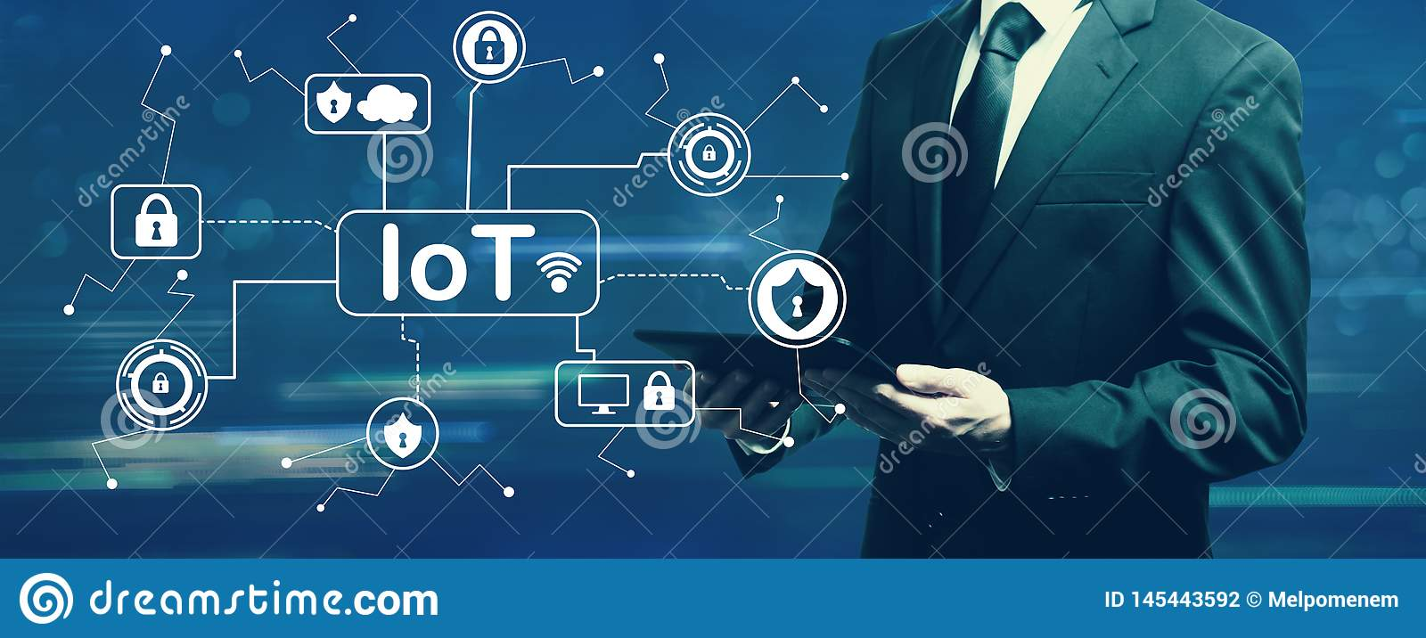 IoT security theme with businessman