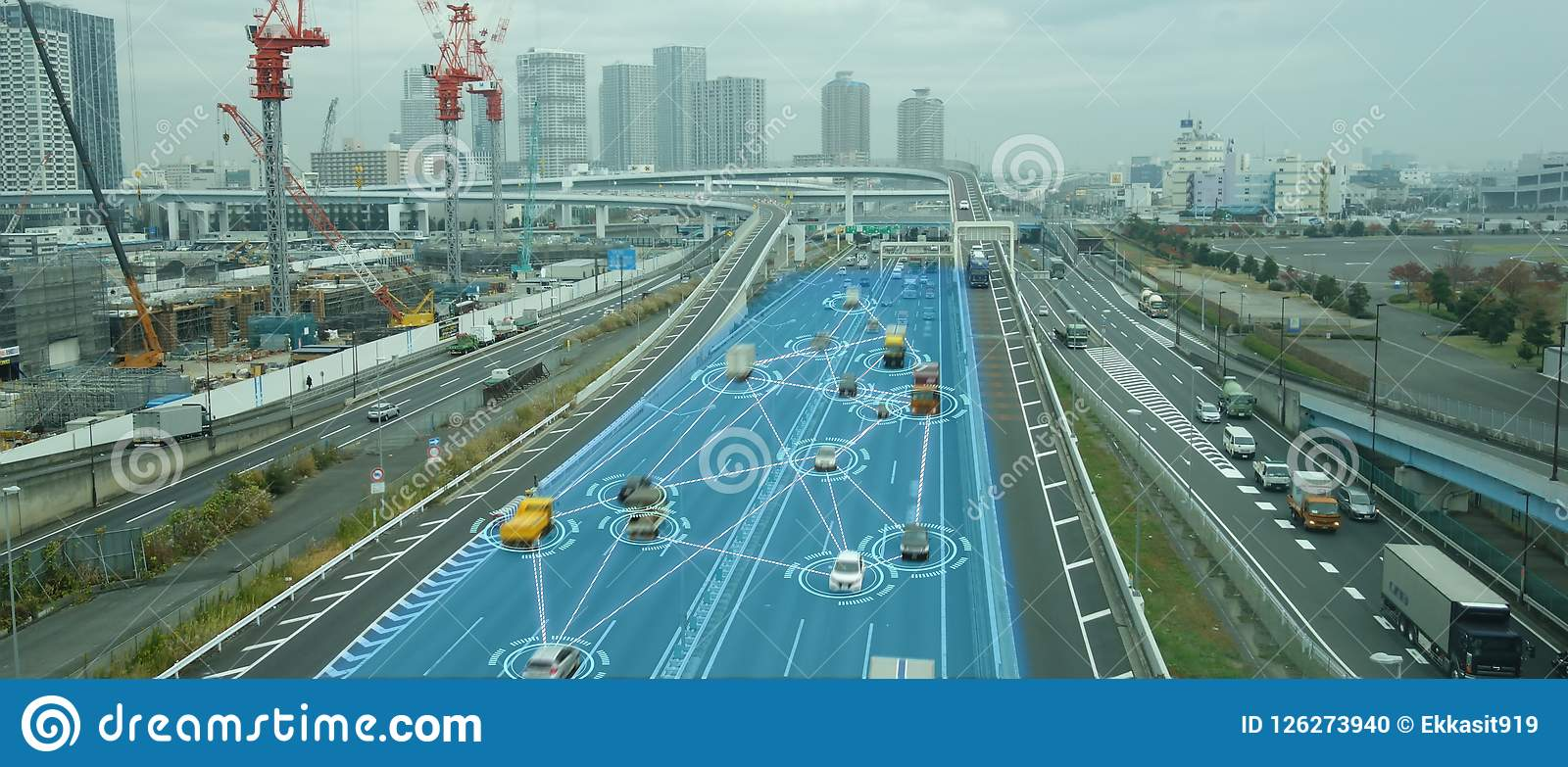 Iot smart automotive Driverless car with artificial intelligence combine with deep learning technology. self driving car can situa