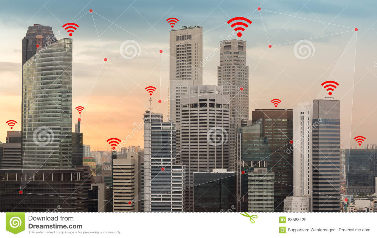 Download IOT And Smart City Concept Illustrated By Wireless Networking An Stock Image - Image of icon, business: 83588429
