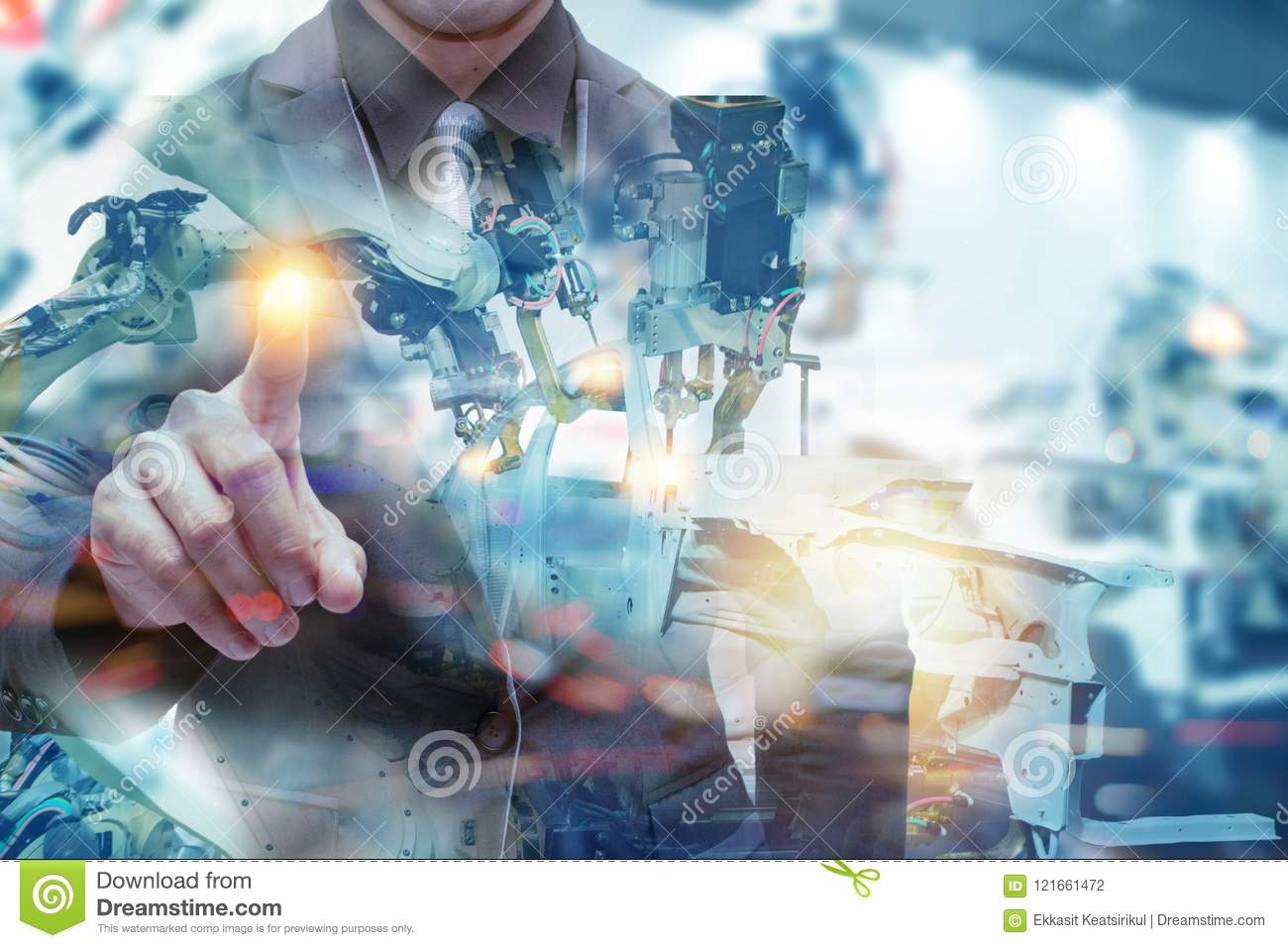 Iot smart factory , industry 4.0 technology concept, Engineer point hand with robot in automation factory background with fake sun