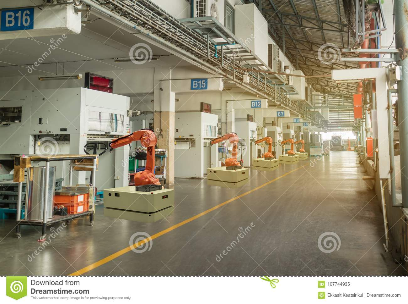 Iot smart industry 4.0 concept. Automation robotic arm working in operation machine zone in factory, Robot using in industrial man