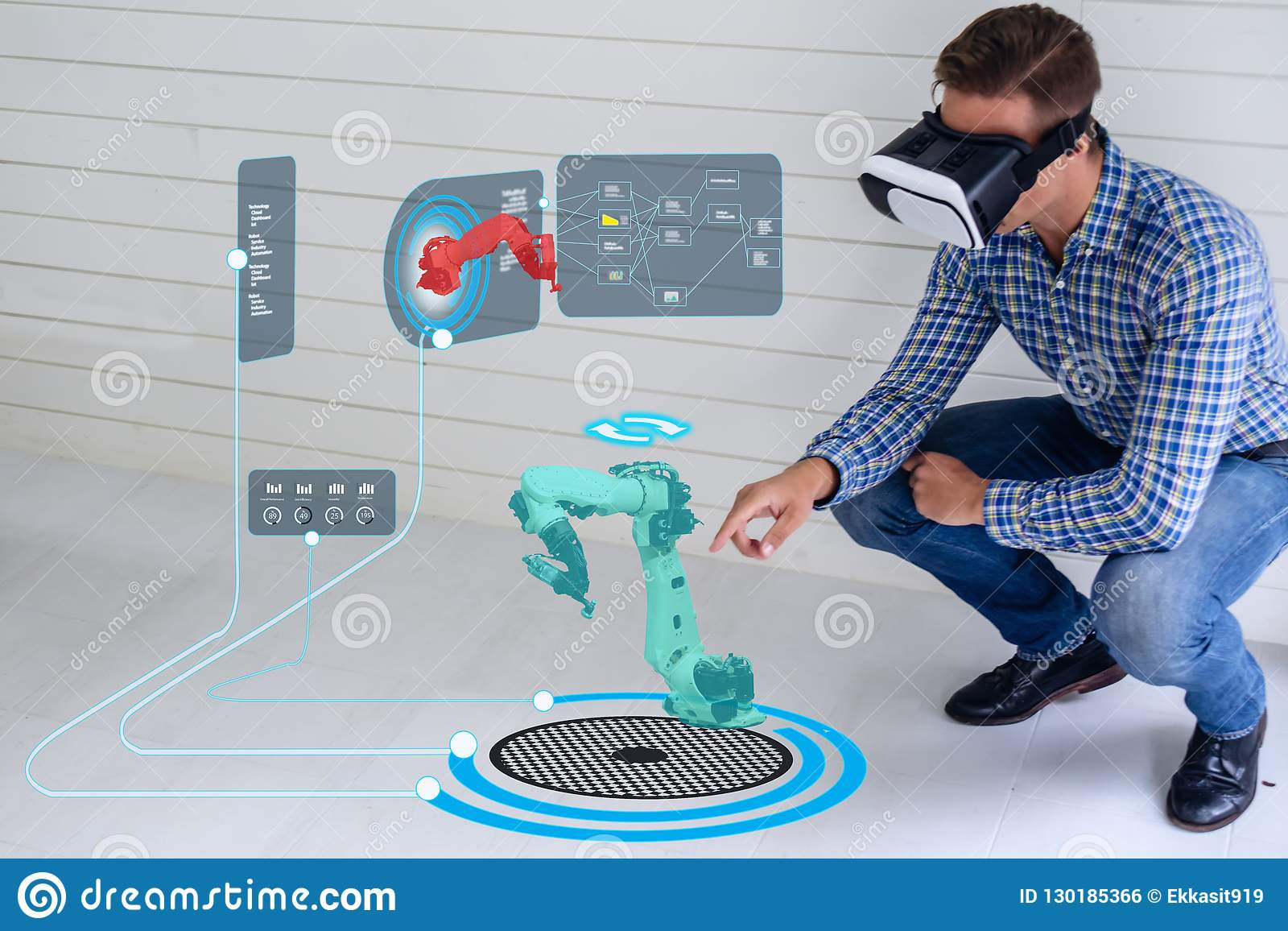 Iot smart technology futuristic in industry 4.0 concept, engineer use augmented mixed virtual reality to education and training, r