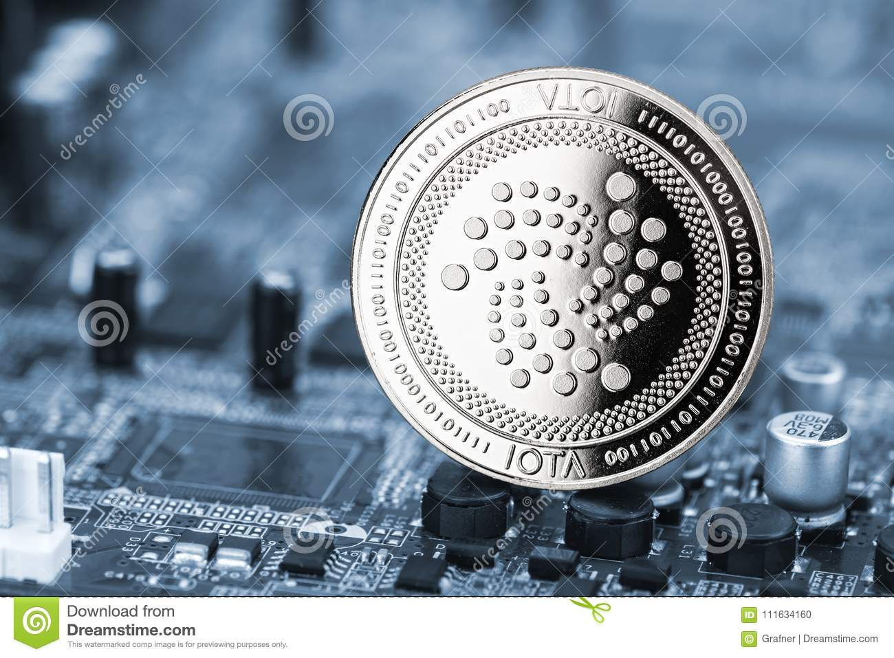 Iota crypto currency silver coin mining computer background
