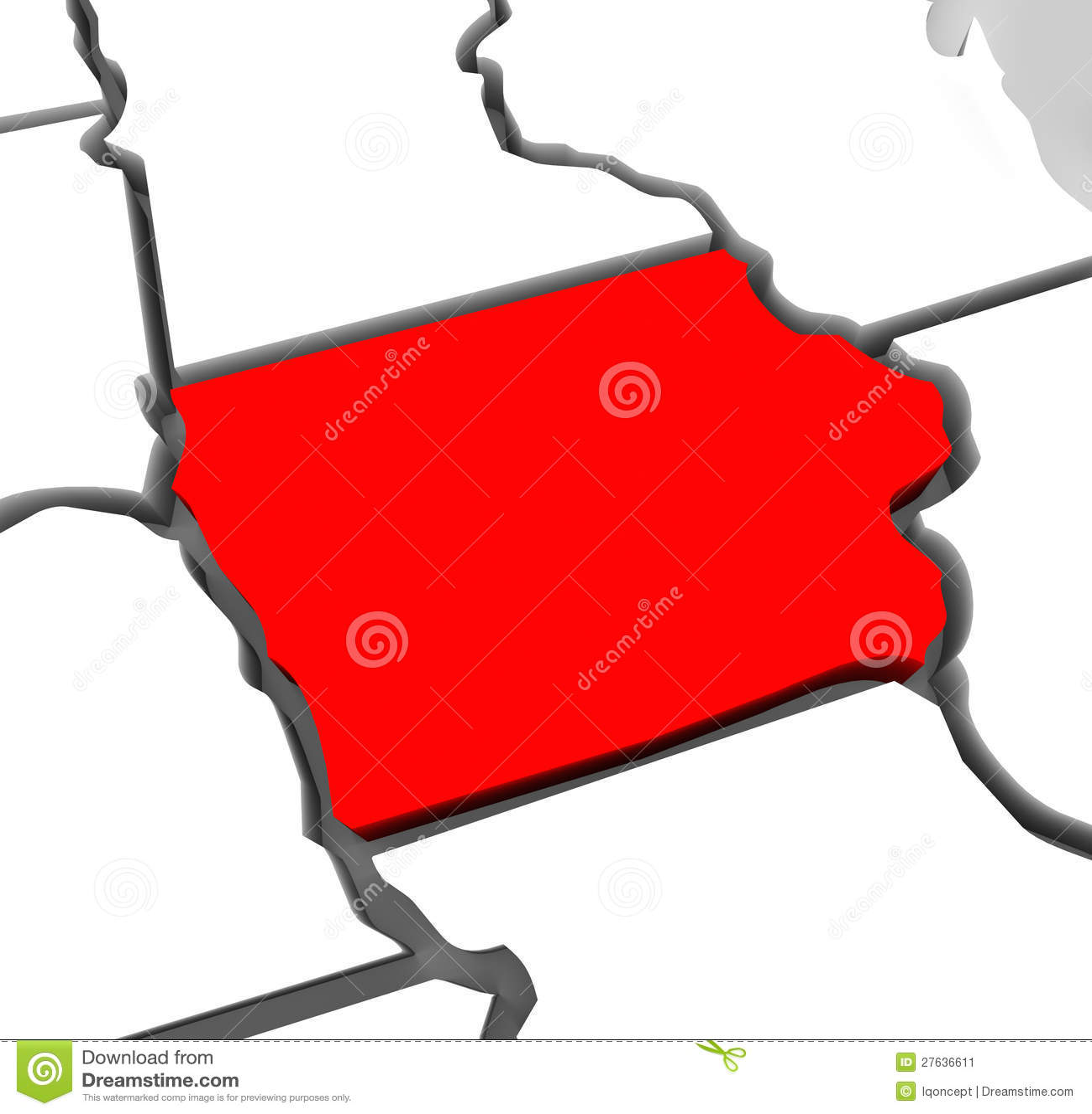 Iowa abstrakta 3D stanu Czerwona mapa Stany Zjednoczone Ameryka