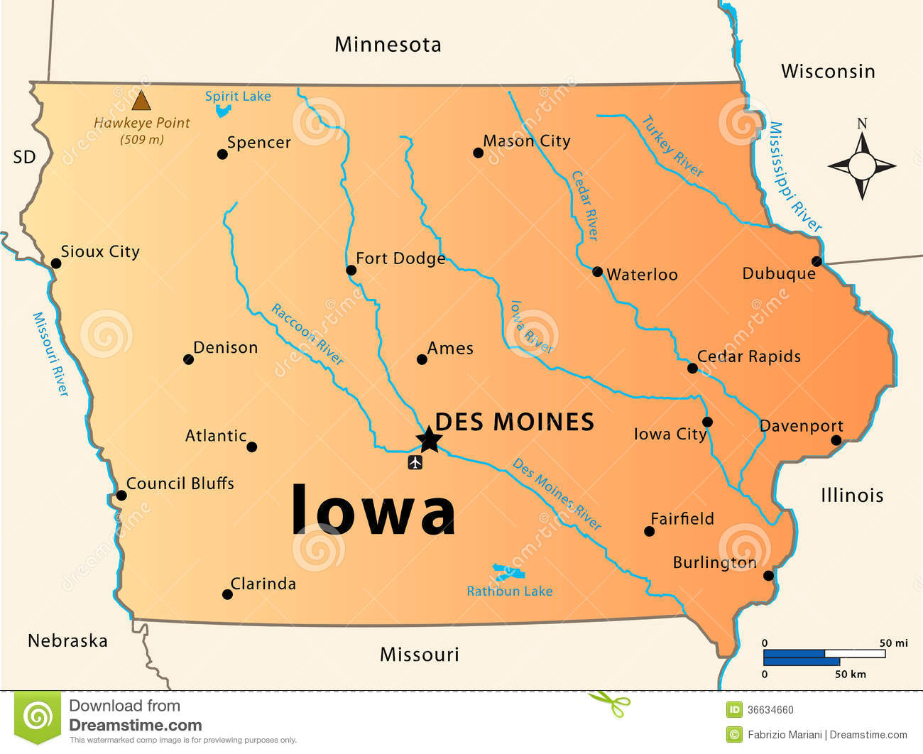 Iowa Map Stock Photo Image - Map usa iowa