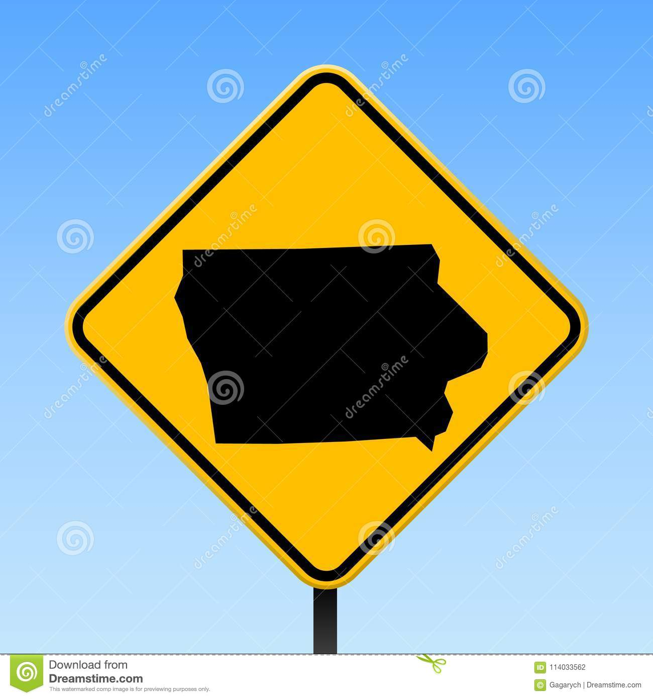 Iowa map on road sign  stock vector  Illustration of chart - 114033562