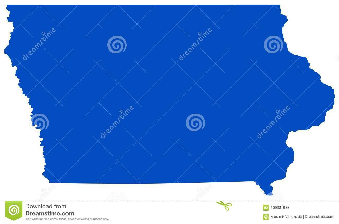 Iowa Map - State In The Midwestern Region Of The United States Stock ...