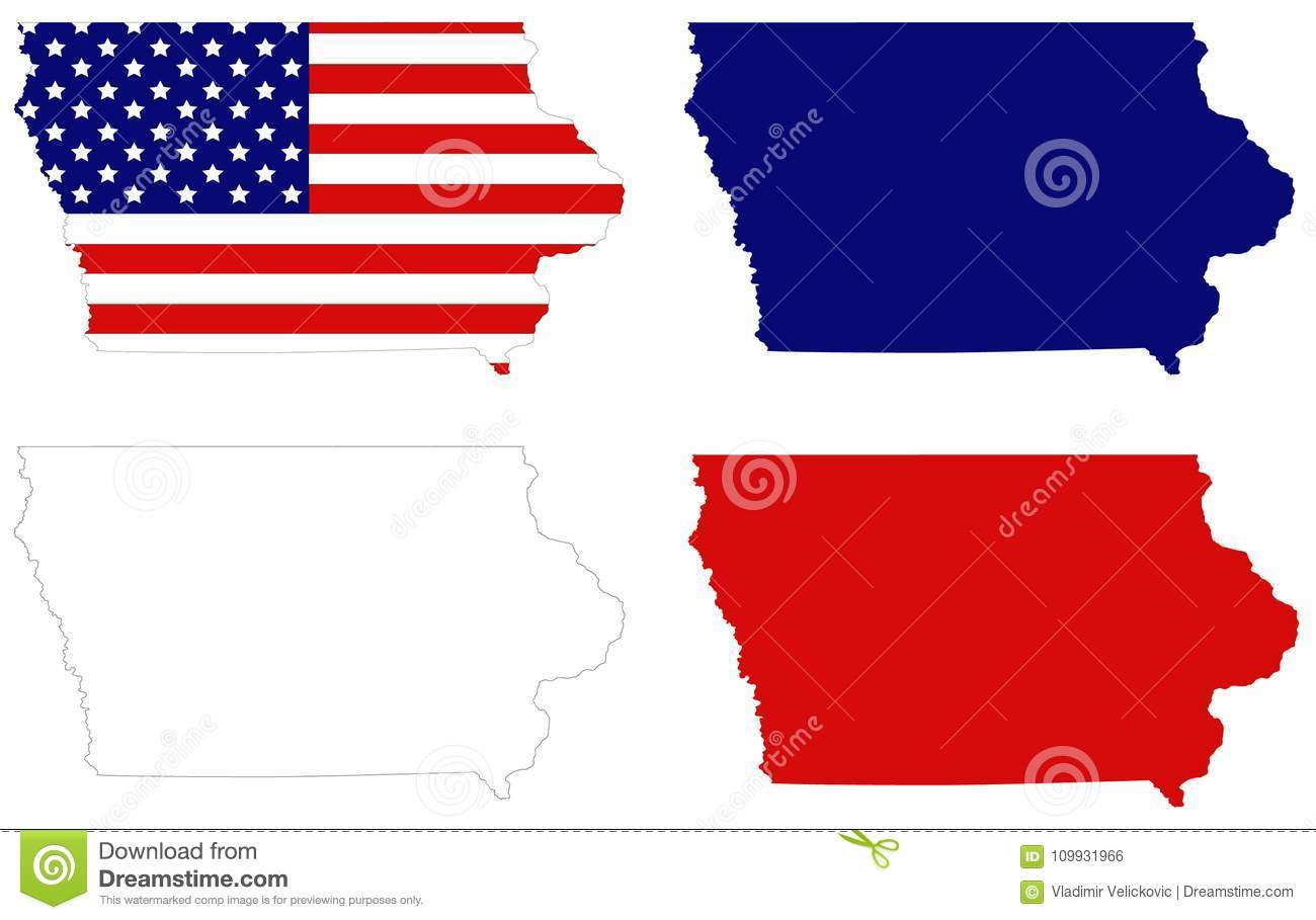 Iowa Map With Usa Flag State In The Midwestern Region Of The