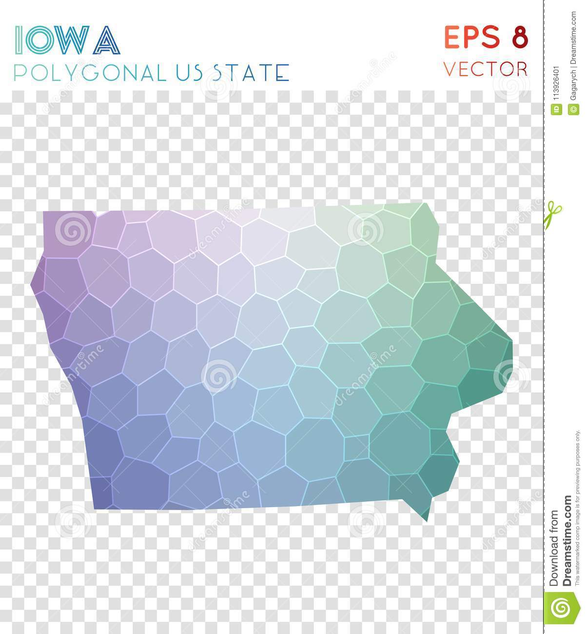 Iowa Polygonal Map Mosaic Style Us State Stock Vector