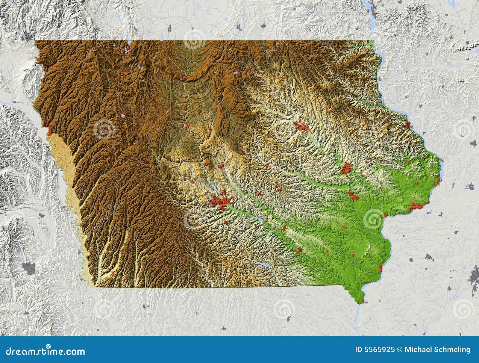 Iowa Relief Map Stock Illustration Illustration Of World 5565925