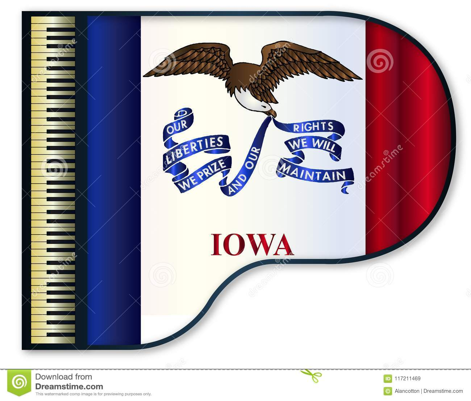 Grand Piano Iowa Flag stock vector  Illustration of