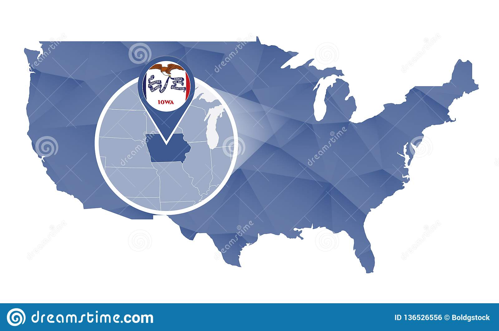 Iowa State Magnified On United States Map Stock Vector ...